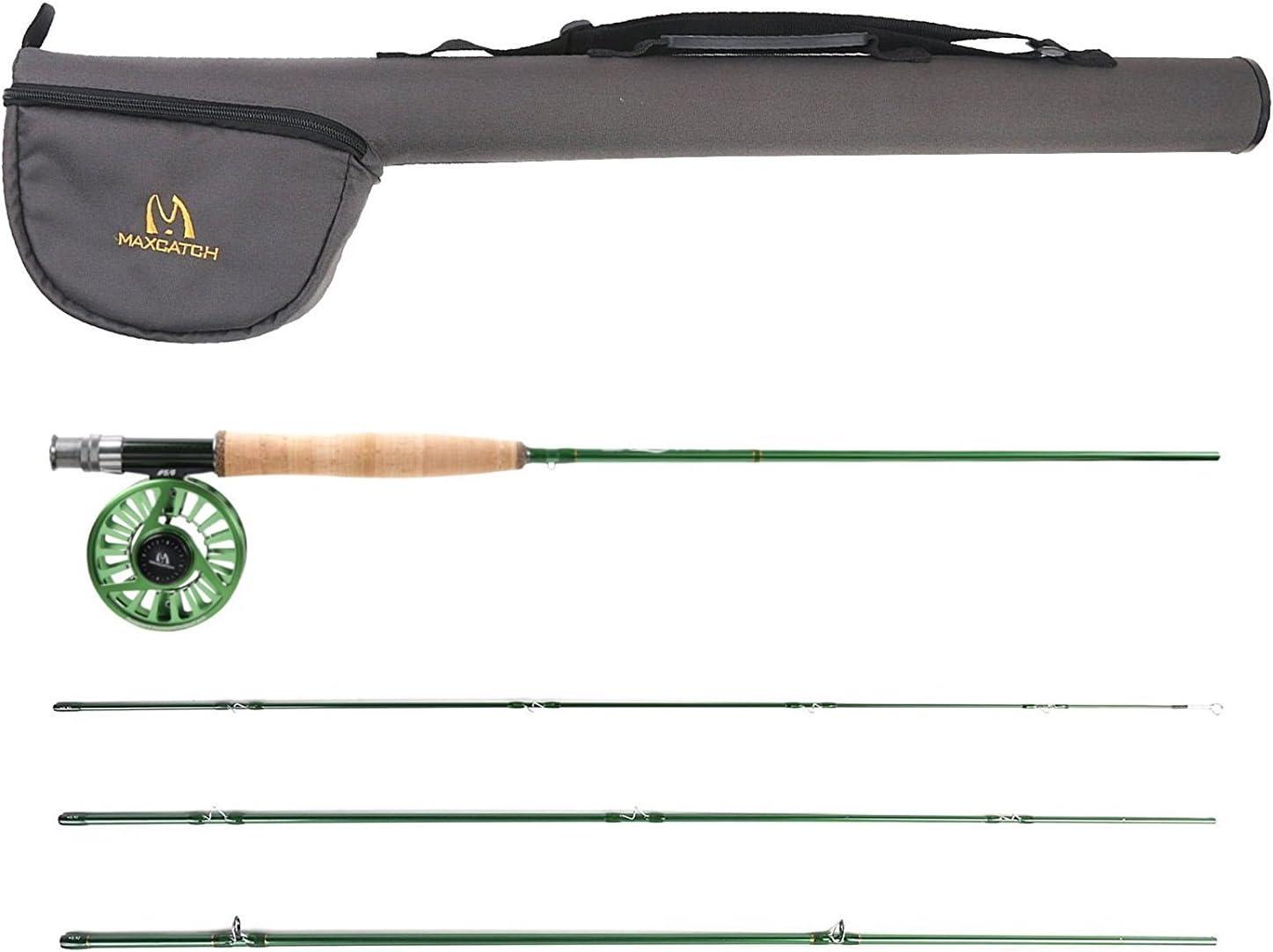 Maxcatch Premier フライロッド と Avidフライリール フライタックルセット(ロッドケース付き) 3/4,5/6,7/8wt ロッドリールセット 釣具セット モデル03+ロッドチューブ 8'6''4wt ロッド+3/4wt リール