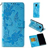 anzeal Galaxy S9 Plus Case, [Butterfly] Book Style Leather Wallet Case Flip Folio Protection Cover with Credit Card Slots and Kickstand for Samsung Galaxy S9 Plus Sky Blue