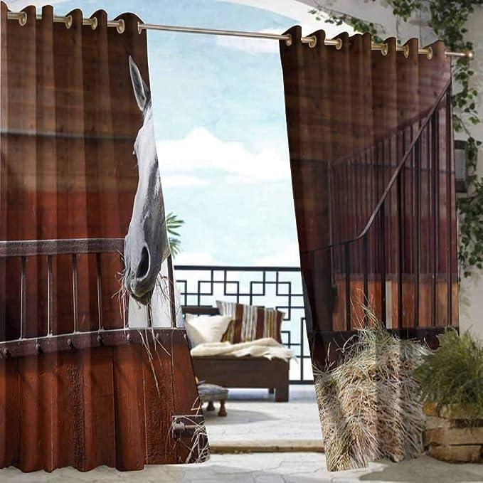 DILITECK - Cortina para Exteriores, diseño de casa de Campo de fantasía en el Bosque mágico, Escena de la película Nueva Zelanda para Patio/Porche Frontal, Color Verde, marrón, Azul: Amazon.es: Jardín