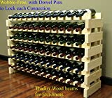 Appliances : Stackable Modular Wine Rack Stackable Storage Stand Display Shelves, Wobble-Free, Pine wood, (72 Bottle Capacity, 6 rows x 12)