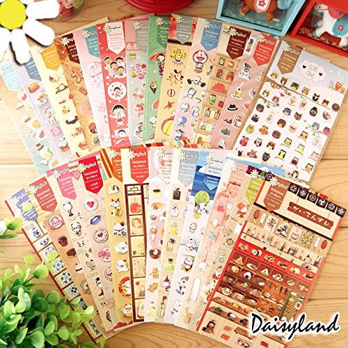 DoDoo(TM) 4 Packs DIY Cartoon Rabbit Panda Owl Perfume Cookies Flower Paper Decorative Diary Album Calendar Adhesive Sticker Scrapbooking Craft (200 Stickers)