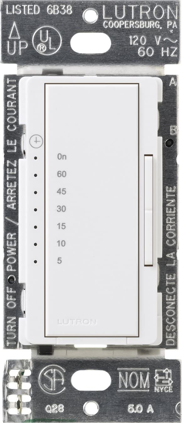 Lutron Maestro Countdown Timer Switch for Halogen and Incandescent Bulbs, 5-Amp Light/3-Amp Fan, Single-Pole or Multi-Location, MA-T51MN-WH, White