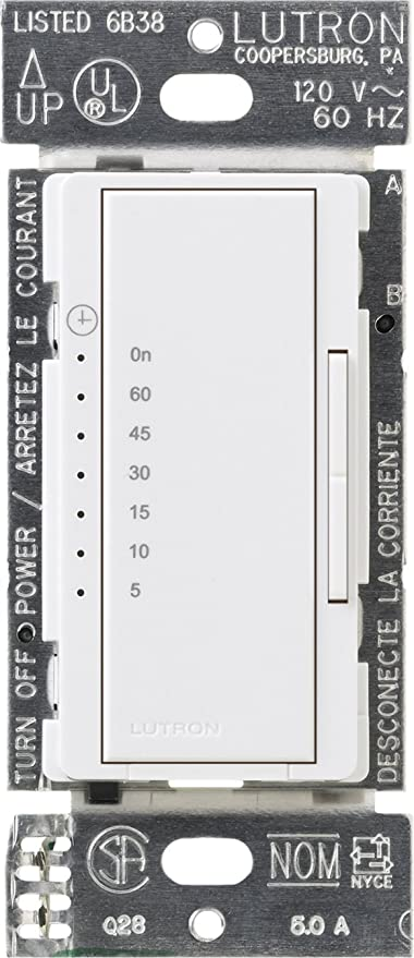 Lutron Maestro Countdown Timer Switch For Halogen And Incandescent Bulbs 5 Amp Light3 Amp Fan Single Pole Or Multi Location Ma T51mn Wh White
