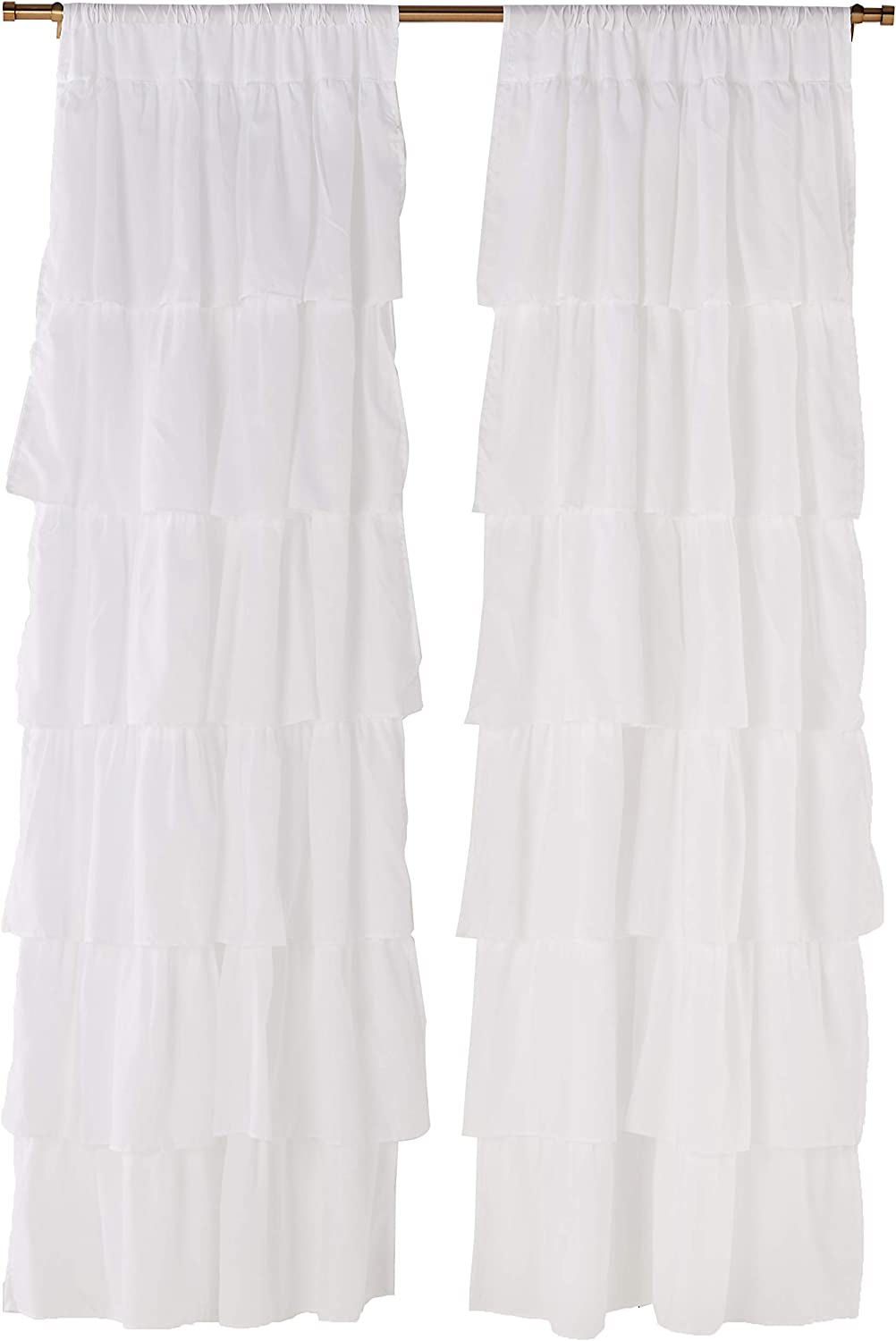"Dainty Home Layers Pleated Rod Pocket with Header Curtain Panel Pair Set of 2, 38"" x 84"" Each (Total 76""x84""), Ruffled Crisp White, 2 Count"