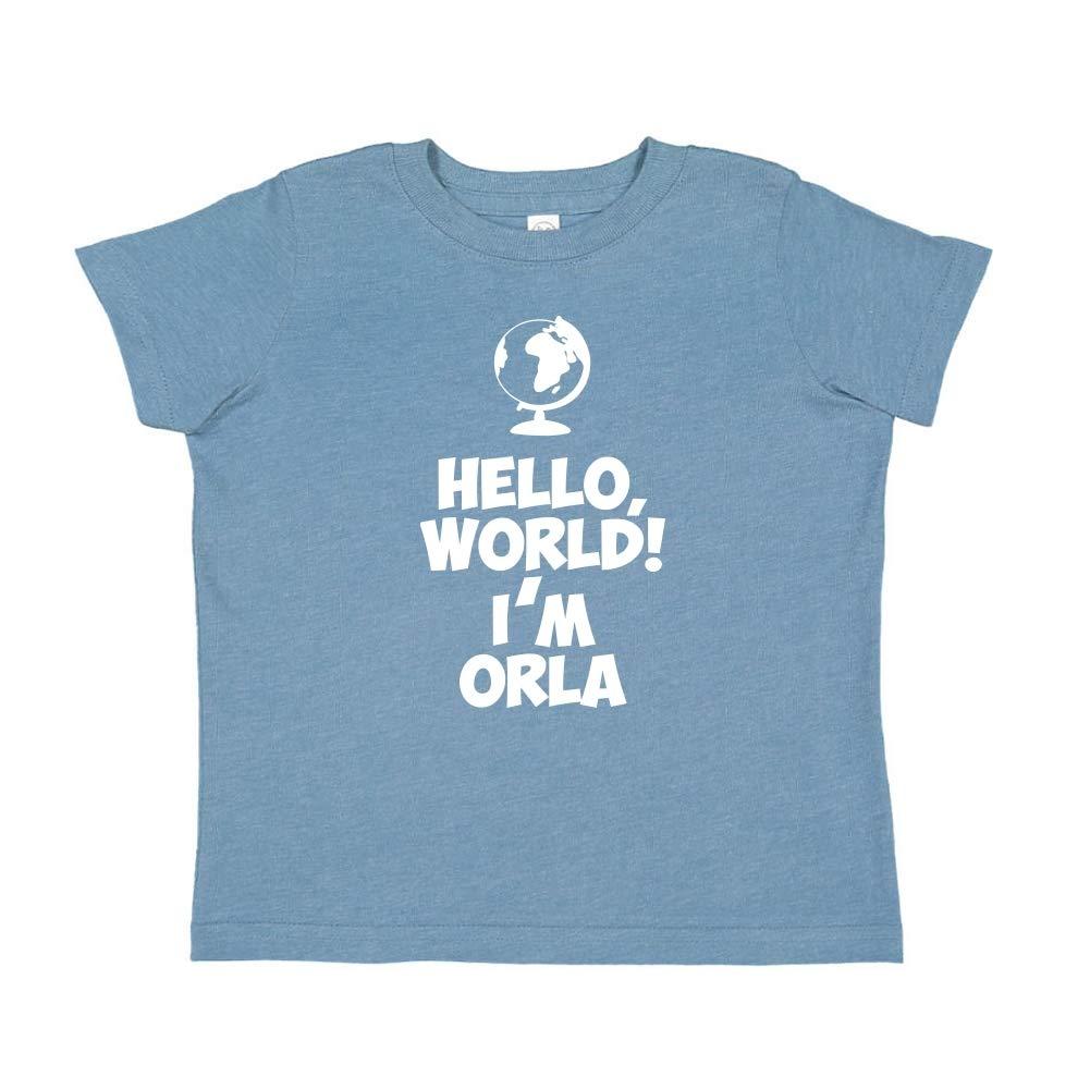 Im Orla World Mashed Clothing Hello Personalized Name Toddler//Kids Short Sleeve T-Shirt