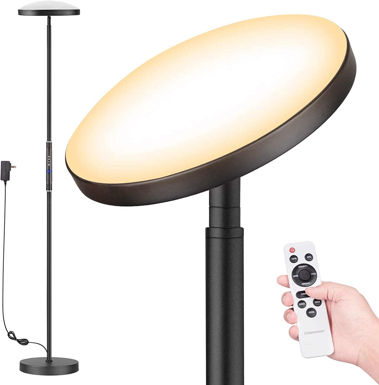 Floor Lamp, Colorsmoon 2200LM Super Bright Sky LED Torchiere, 5 Color Temperature Dimmable Tall Standing Light with Remote Control for Living Room, Bedroom, Office (Black)