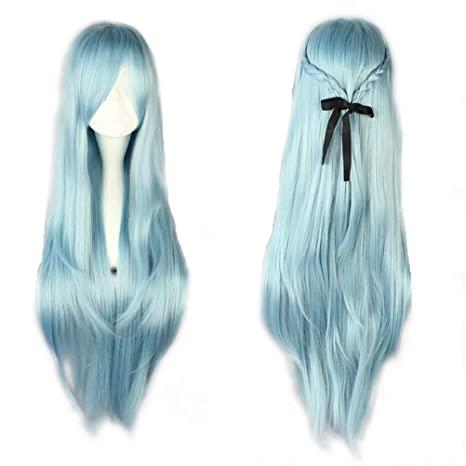 NiceLisa - Peluca larga para disfraz de cómic de Halloween, color azul