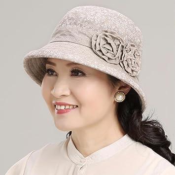 QIER-MZ Gorra De Mujer Moda Verano Otoño Visera Delgada Sombrero De Cuenca  Gorra De Mediana Edad Sombrero De Ropa Sombrero De Pescador Gorra De Salida  ... f4536c3a716