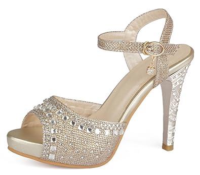 YE Damen Ankle Strap Glitzer Pumps mit Riemchen Stiletto High Heels Plateau Hochzeit Braut Schuhe