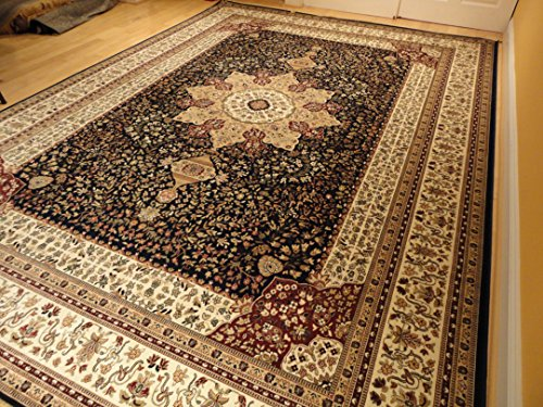 Luxury Navy Persian Style Rug Large 5x7 Living Room Rug