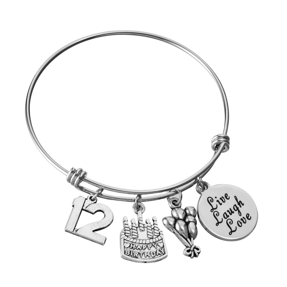 Miss Pink 12th Birthday Gifts for Girls Adjustable Wire Charm Bracelet Twelfth Bangle Happy Birthday Cheer Jewelry