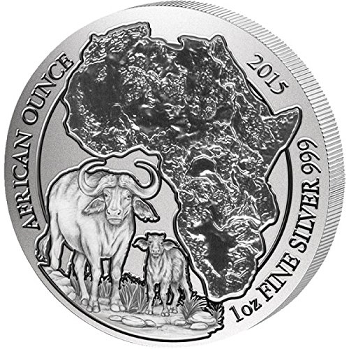 (2015 RW African Ounce CAPE BUFFALO 1 Oz Silver Wildlife Coin in Mint Sealed Packaging - Rwanda 50 Francs BU)