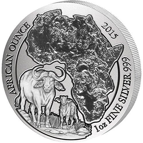 1 Oz Silver Bu Coin - 2015 RW African Ounce CAPE BUFFALO 1 Oz Silver Wildlife Coin in Mint Sealed Packaging - Rwanda 50 Francs BU