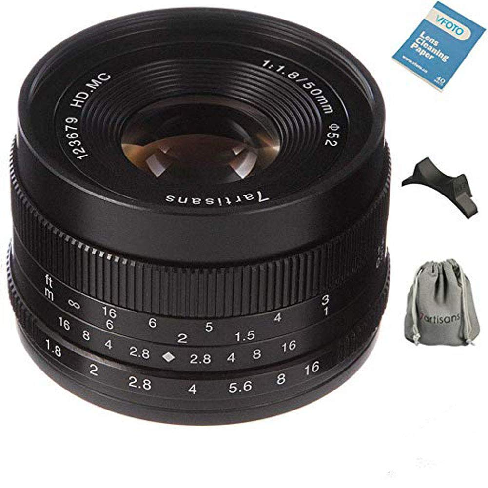 7artisans交換レンズ50mm/1.8 単焦点レンズM43 マウントカメラ対応 マニュアルフォーカス レンズポーチバッグ同梱(ブラック)   B07M8H79HF