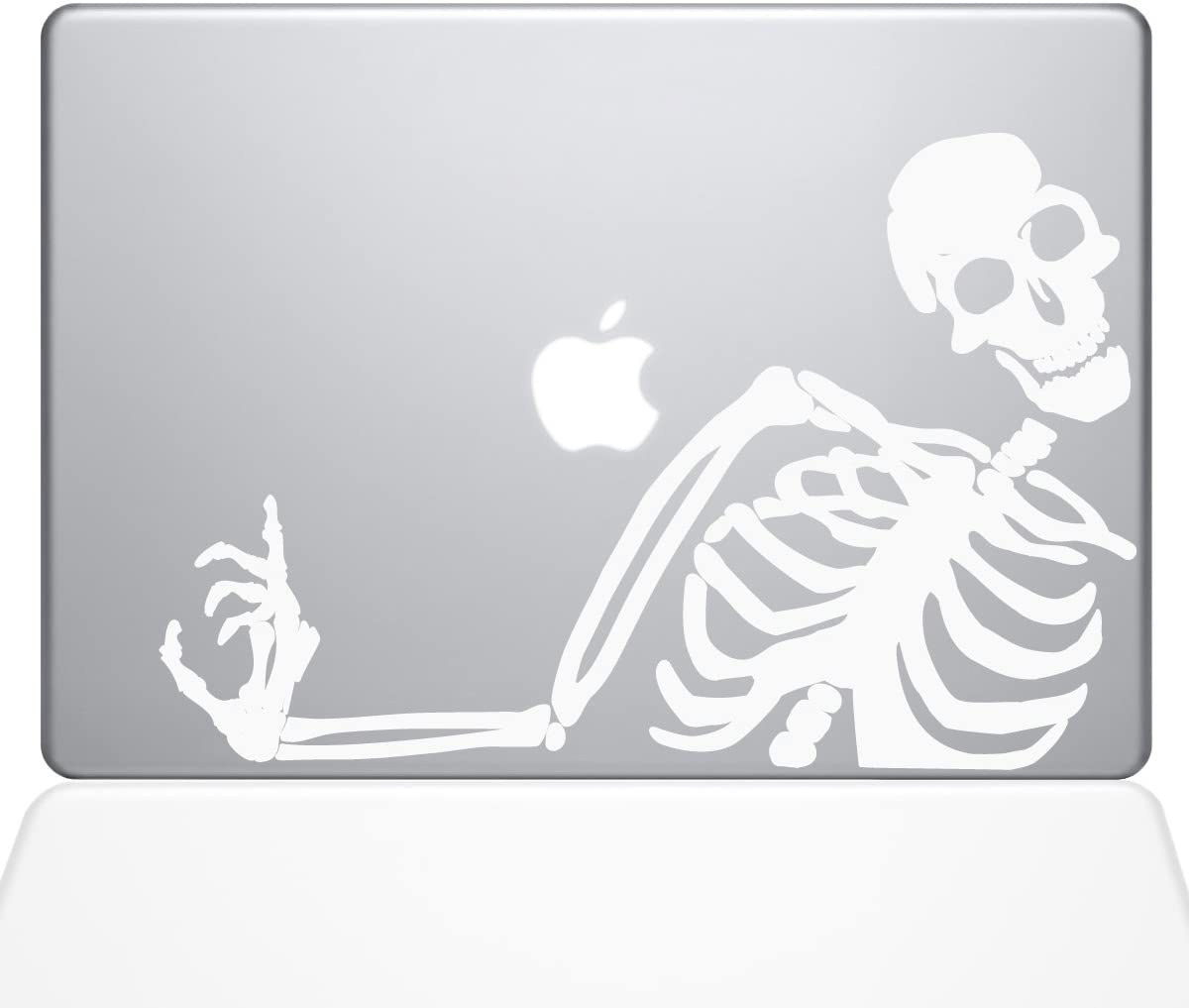 "The Decal Guru 2078-MAC-13A-W No You Didn't Skeleton Decal Vinyl Sticker, White, 13"" MacBook Air"