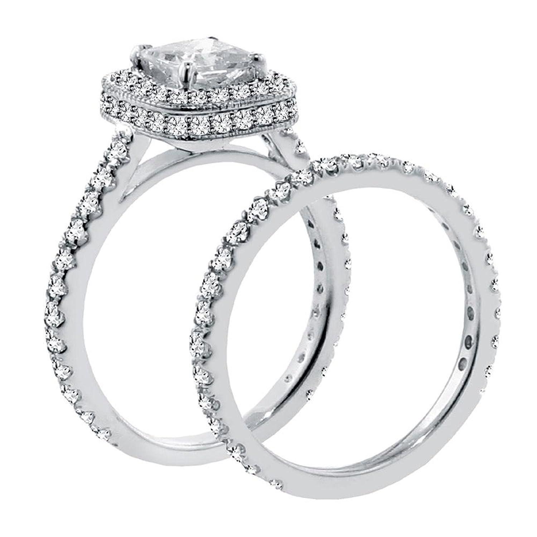 Amazon 2 42 CT TW Pave Set Diamond Encrusted Princess Cut