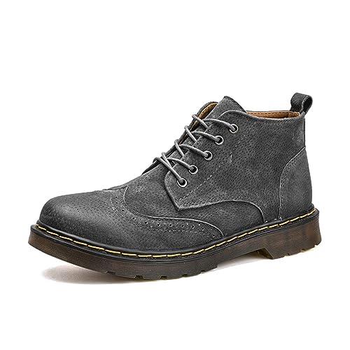 Botas De Cuero para Hombre Botines para El OtoñO Invierno Calzado De Moda Botas Altas Superiores Zapatos con Cordones Caual con Pieles: Amazon.es: Zapatos y ...