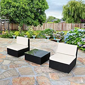 U-MAX 3 Pieces Patio PE Rattan Wicker Sofa Set Outdoor Sectional Furniture Chair Set with Cushions and Tea Table Black 7