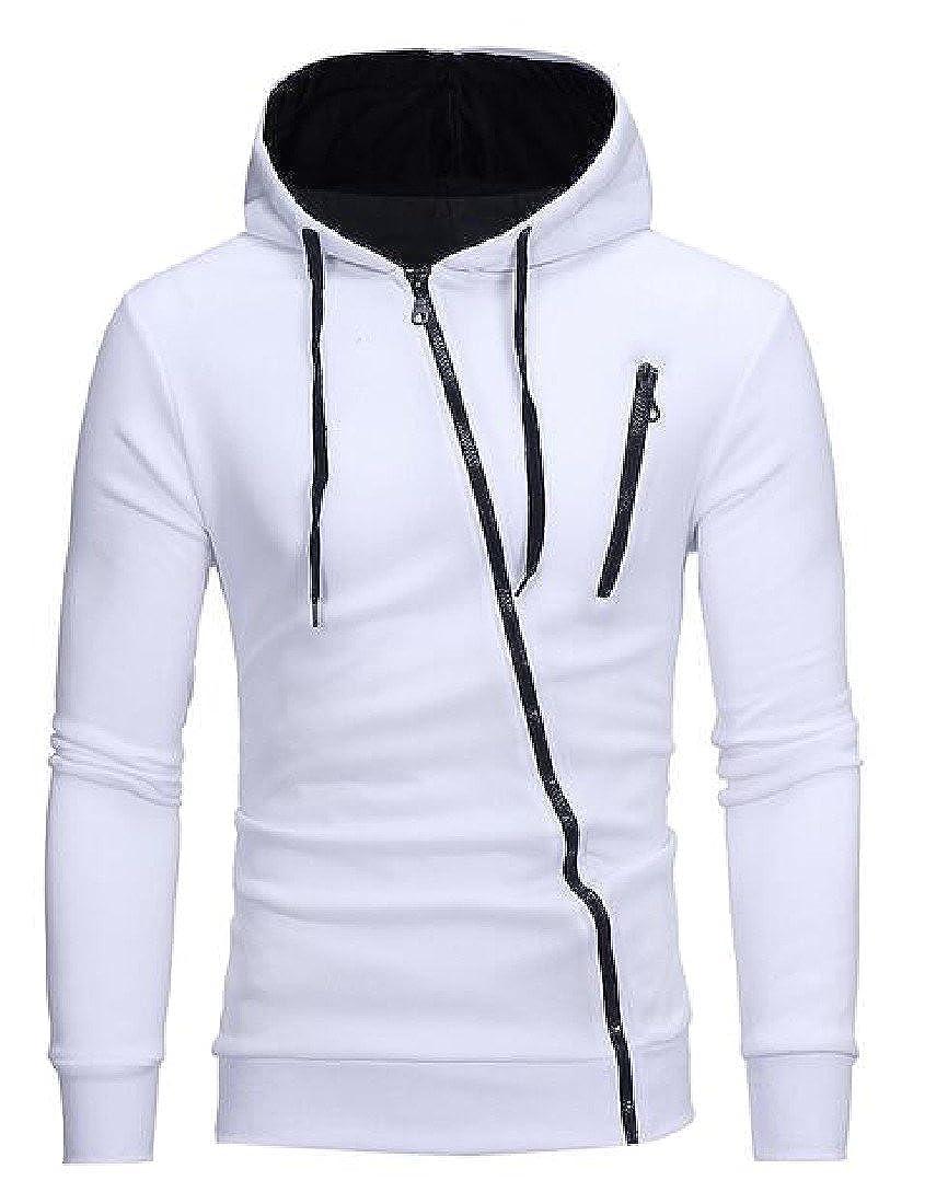 YUNY Men Drawstring Oblique Zipper Raglan Sleeve Hooded Hoodies