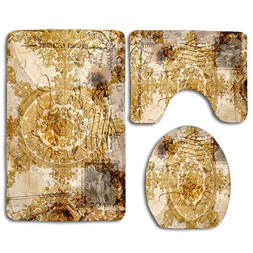 NEWcoco Toilet Seat Cover Bath Mat Lid Cover,3pcs/Set Rugs Byzantine Postcard Gold White