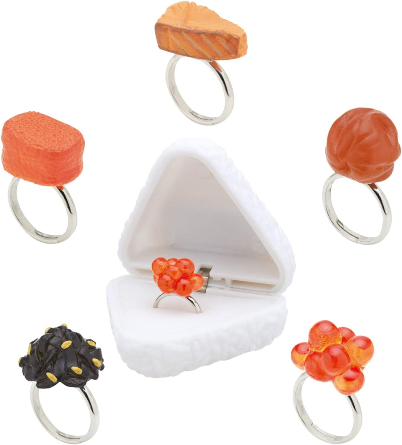 Kitan Club Onigiring (Riceball Ring) Miniature Food Jewelry - Blind Box 1 of 5 Collectable Fake Food Ring - Fun, Versatile Decoration - Authentic Japanese Design