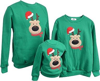 TALLA XL. Sudadera Navidad Jersey Navideño Sudaderas Navideñas Familiares Niño Niña Sueter Hombre Mujer Reno Sweaters Estampadas Pullover Cuello Redondo Largas Chica Chico Invierno Anchas Basicas