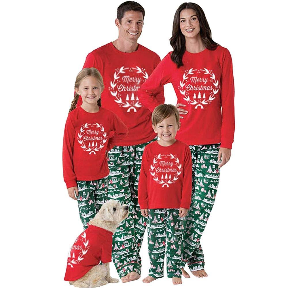 Parent-Child Christmas Print Tops Blouse Pants Family Pajamas Sleepwear Outfits Set WMY-008