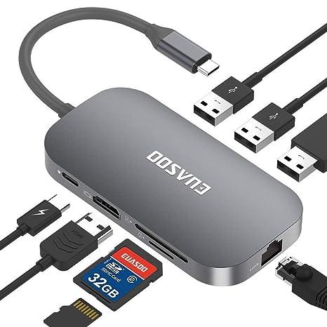 EUASOO HUB USB C 9 Puertos Hub Tipo-C con conexión Ethernet, HDMI, Puerto de Carga ...