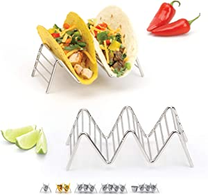 Taco Holders Set of 2 Premium Stainless Steel Stackable Stands, Each Rack Holds 2 or 3 Hard or Soft Tacos, Five Styles Available By 2lbDepot