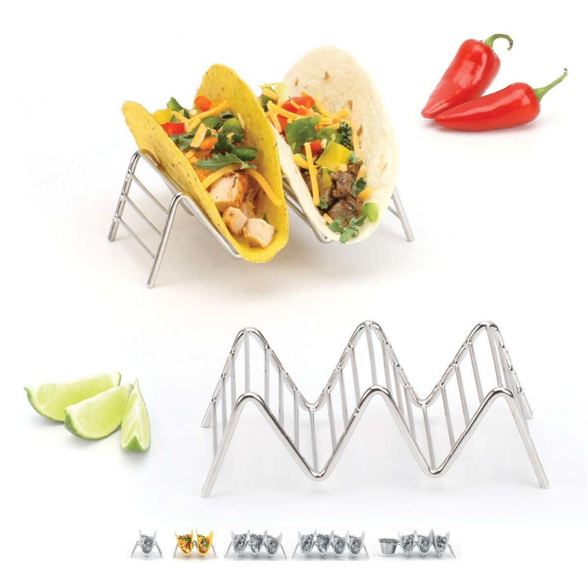 2lbDepot Taco Holder Stand - Chrome Finish - Premium 18/8 Stainless Steel - Holds 2 or 3 Hard Soft Tacos - Five Styles Available - Set of 2 Racks
