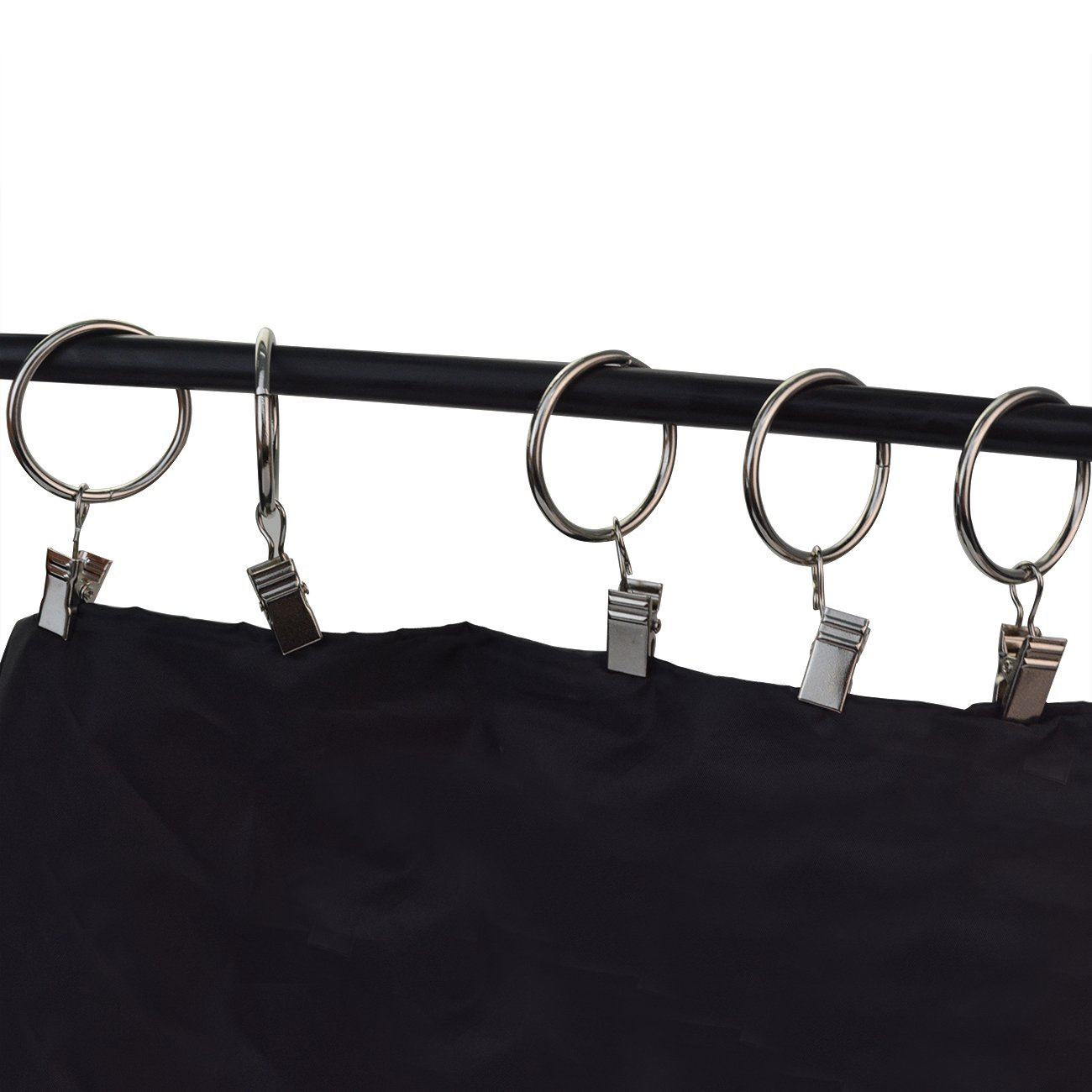 Tojwi 36-pieces Metal Drapery Curtain Rings with Clips