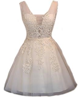 FOLOBE Womens Vintage Lace Wedding Dress Short Bridal Gown Dresses