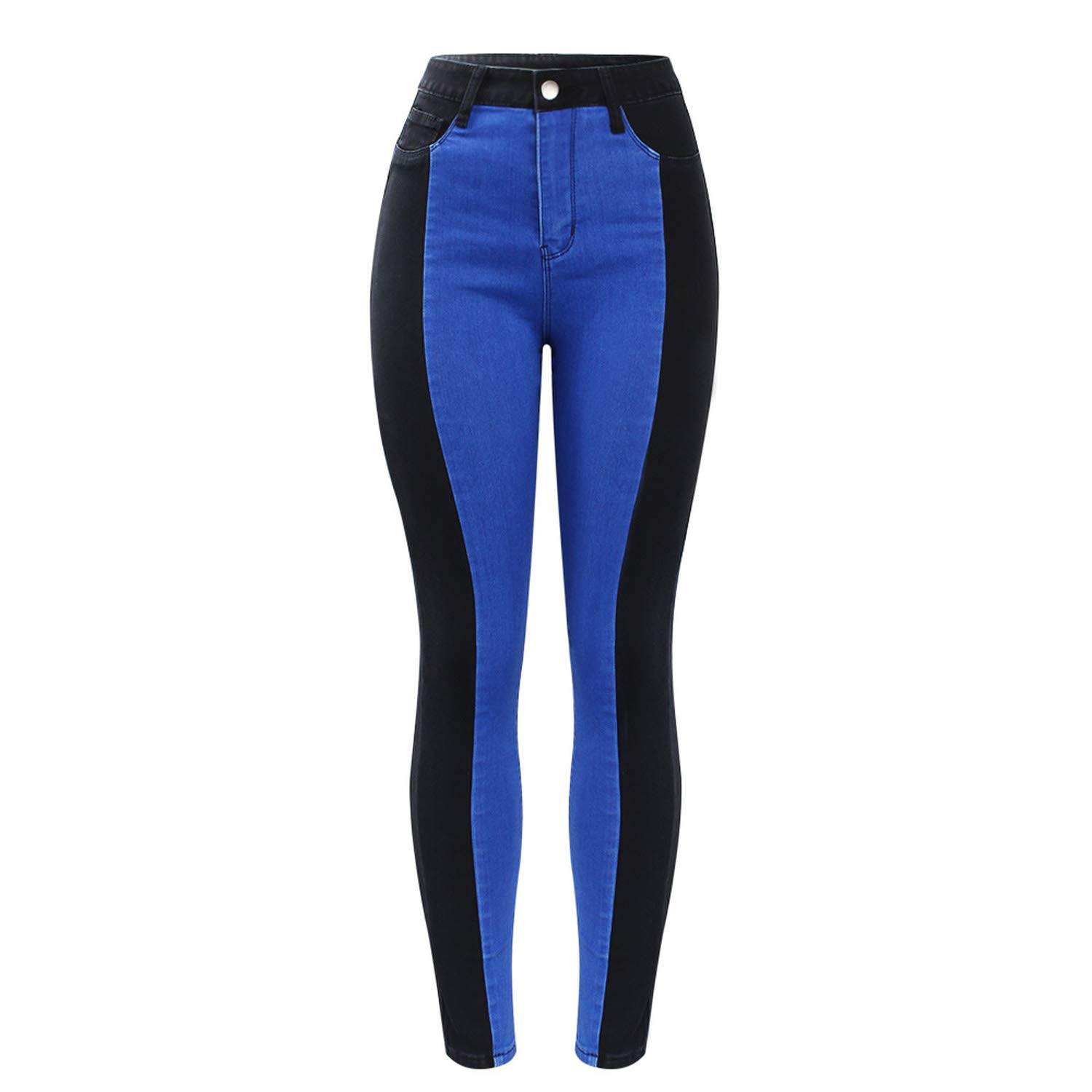 Zcaosma Plus Size High Waist Patched Jeans Woman Black /& Blue Stretchy Denim Skinny Pants Trousers for Women Jeans