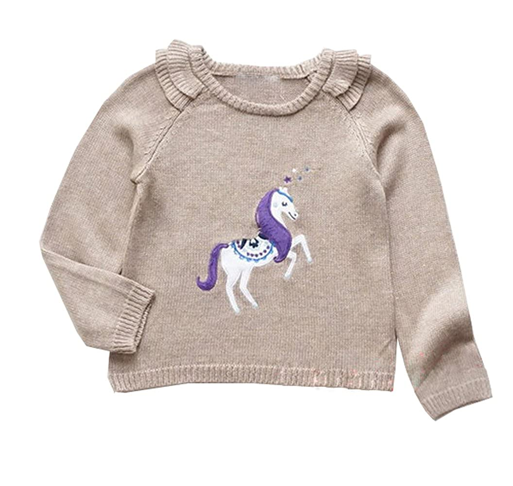 eKooBee Little Girls Sequin Pullover Sweater Tops Horse Cotton Outerwear