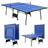 Full Size Folding Outdoor Indoor Table Tennis Table Ping Pong Set with Bats Balls & Net