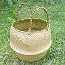 "RISEON Natural Seagrass Belly Basket Panier Storage Plant Pot Collapsible Nursery Laundry Tote Bag with Handles (13"" (32x28cm))"