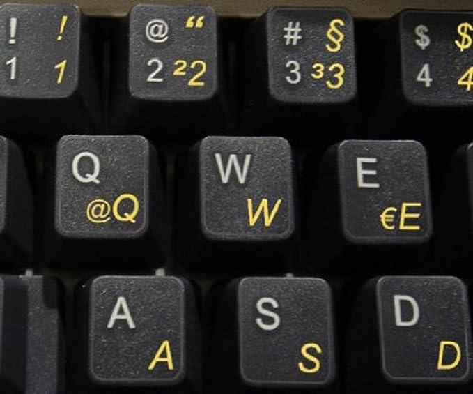 Qwerty Keys Pegatinas Teclado alemán Transparentes con Letras Amarillas: Amazon.es: Electrónica