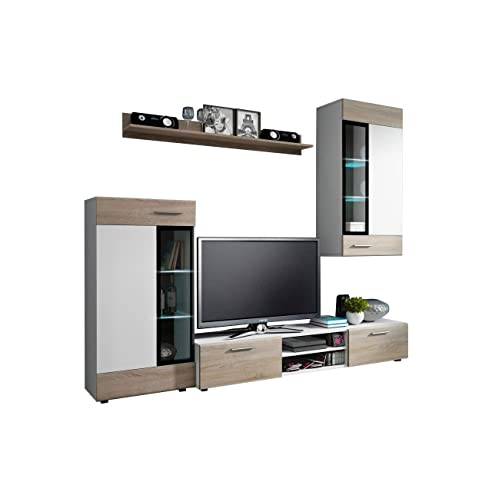 Wohnwand Twist, Design Modernes Wohnzimmer Set, Anbauwand, Schrankwand,  Vitrine, TV Lowboard