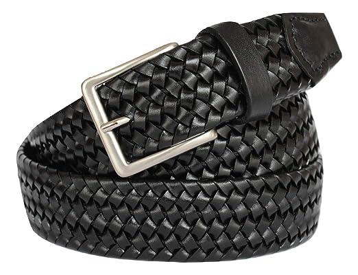 Nuovi Prodotti 2a0f7 35752 ITALOITALY - Cintura Intrecciata Made in Italy in Vera Pelle con Elastico,  Nera, Uomo, Donna, Alta 3,5cm, Accorciabile