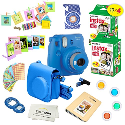 Fujifilm Instax Mini 9 Camera + Fuji INSTAX Instant Film (40 SHEETS) + 14 PC Instax Accessories kit Bundle, Includes; Instax Case + Album + Frames & Stickers + Lens Filters + MORE (Cobalt Blue)