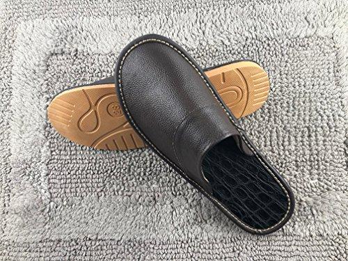 Femme Glissant Maison Anti Confortable Souple Cuir Fluidale Homme OSVINO Mode Pantoufles Mules Bureau Luxe Texture AUxZqSzw5
