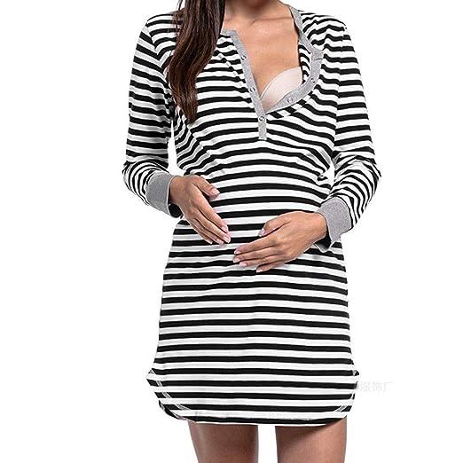 9addc2603767 Fashion Women Long Sleeve Nursing Breastfeeding Shirts Dress Maternity  Breastfeeding Tops Blouse Nightgown (Black