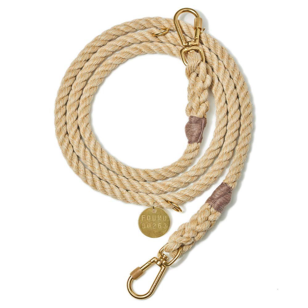 Light TAN Rope Dog Leash, Adjustable Large