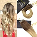 Sunny 16inch Remy Hair Extensions Micro Loop Human Hair Extensions Ombre Light Brown to Blonde 50g Micro Ring Beads Tipped Remy Hair Extensions 1g/1s