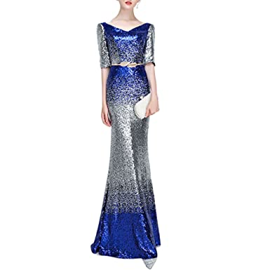 Heartgown Womens Sexy Long Mermaid Prom Dresses Gradient Sequin Evening Party Dress - - 6 UK