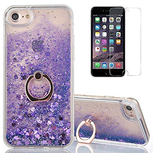 for iPhone 6/6S Glitter Case with Ring Holder,QFFUN Bling Floating Liquid Clear Silicone Hard Case with 360 Degree Rotating Kickstand Shockproof Protective Cover and Screen Protector-Love Purple