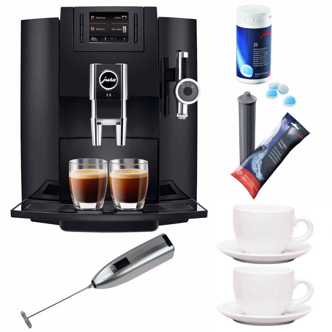 Jura E8 Super Automatic Espresso Machine + Jura Cleaning Tablets and Filters + Free Knox Milk Frother + Two(2) 3 oz. Ceramic Tiara Espresso Cup & Saucer