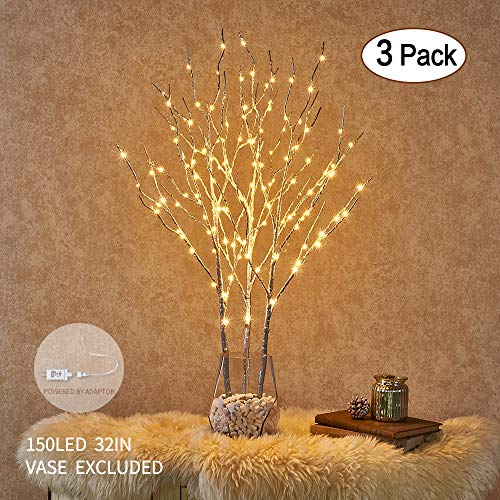 Hairui Lighted Willow Branches Silver with Fairy Lights Decor 32in 150LED, Pre-lit Twig Tree Branch Lights for Home Garden Holiday Valentine Decoration Plug in 3 Pack (Vase Excluded)