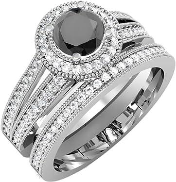 anillo oro blanco con diamante negro y 93 gemas