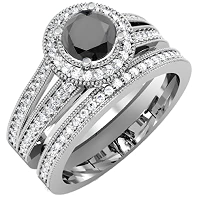 Amazon Com 1 25 Carat Ctw 14k White Gold White Black Diamond